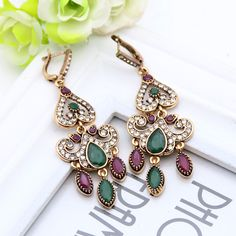 Fashion Vintage Turkish Earrings For Women Antique Water Drop Gold Color Brincos Arabesque Ethnic Engagement Party Festival Gift //Price: $US $3.20 & FREE Shipping //     #hashtag1