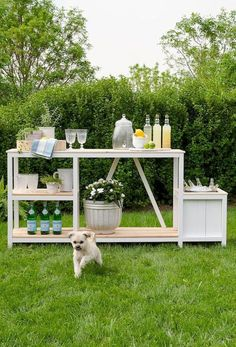 This outdoor piece is a great multi-functional station for your outdoor living space. It could be utilized as a bar with drink/ice bucket, potting ben… - All About Gardens Diy Outdoor Bar, Outdoor Paint, Outdoor Living, Outdoor Decor, Outdoor Lounge, Outdoor Spaces, Outdoor Play, Outdoor Ideas, Backyard Projects