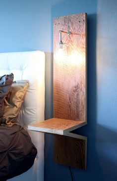 Industrial Nightstand w/ Built-in Cage Lamp - reclaimed, barn wood, weathered, chrome, sconce, bedroom, bedside table: