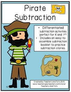 This pirate-themed subtraction packet contains differentiated activities so it would be great for Kindergarten and/or 1st grade use!    Also includes an easy-to-assemble booklet to practice subtraction word problems.  Just let the copier double staple as it copies and then cut in half-easy as pie!Please consider leaving FEEDBACK after downloading and FOLLOW my store if you like my products!