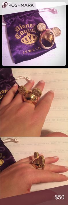Disney Couture Gold Mickey Ears Ring Beautiful Gold Crusted Mickey Ears Ring from Disney Couture. Brand new condition, worn once. Sparkly, shiny, and perfect for the Disney fan! Disney Jewelry Rings