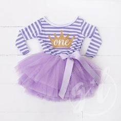 First Birthday outfit dress long sleeve with gold letters and purple tutu for girls or toddlers Sofia the first