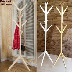 NEW! European style coatrack 100% wooden tree fork coat racks stand,8 hooks,wooden living room furniture,Home Furnishing Decor