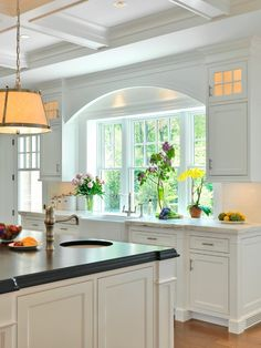 Arched detail over sink, coffered ceiling, Farmhouse Kitchen Sink - Counter Flus. Arched detail over sink, coffered ceiling, Farmhouse Kitchen Sink – Counter Flush with Window – Window Over Sink, Kitchen Sink Window, Farmhouse Sink Kitchen, New Kitchen, Kitchen Decor, Kitchen Windows, Kitchen Island, Kitchen White, Kitchen Ideas