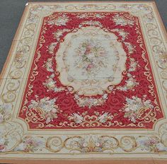 9'x12' Handmade Urn Flowers Roses French Aubusson Design Needlepoint Red Rug~New
