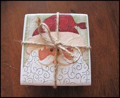 White tile, holiday napkin, cork or felt. Mod podge image to top of tile. Hot glue cork or felt to back. Seal image with waterproof sealer (spray or brush). Perfect Christmas Gifts, Homemade Christmas, Beautiful Christmas, Simple Christmas, Christmas Time, Whimsical Christmas, Elegant Christmas, Christmas Things, Christmas Projects