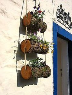 Details about Log planter / Log Flower Basket /Wooden Rustic Log Flower Ladder - Garden Style - Details about Log planter / Log Flower Basket /Wooden Rustic Log Garden Crafts, Diy Garden Decor, Garden Projects, Garden Art, Garden Design, Garden Ideas, Nail Garden, Garden Inspiration, Diy Planters Outdoor