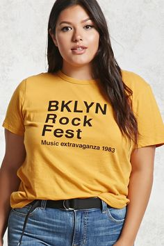 "Forever - A soft knit tee featuring a front ""BKLYN Rock Fest Music Extravaganza graphic, ribbed crew neckline, short sleeves, and a relaxed fit. Forever 21 T Shirts, Forever 21 Uk, Yellow Tees, Yellow T Shirt, Plus Size Fashion For Women, Celebrity Outfits, Shirt Outfit, Latest Trends, Sexy"