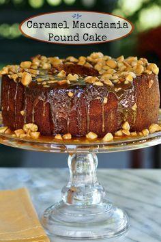 Caramel Macadamia Pound Cake - Brown sugar pound cake topped with caramel and toasted macadamia sauce - lick-the-plate. simplysated.com