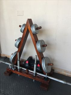 DIY home gym wood weights rack