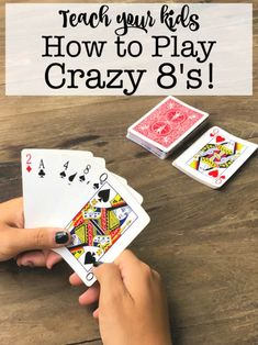 This summer, teach your kids how to play Crazy Crazy is a family card g. This summer, teach your kids how to play Crazy Crazy is a family card game favorite at our house, and kids Family Card Games, Fun Card Games, Card Games For Kids, Playing Card Games, Games For Teens, Adult Games, Party Games, Activities For Kids, Games With Cards