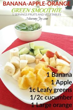 Want to boost your health and immunity? Try this Banana-Orange-Apple Green Smoothie Recipe full with vitamins, minerals and fiber. This green smoothie recipe contains 5 servings of fruit and vegetables. This smoothie recipe provides all vitamins you will need for the day. It also fills your stomach and makes a gread meal replacement smoothie to help lose weight.