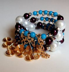 White and burgundy glass pearls and blue glass beads with silver plated gold tone coiled wire charms memory wire cuff spiral wrap bracelet