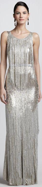 ♥DRESS me♥  Oscar de la Renta Bead-Fringe Sleeveless Column Gown $12990