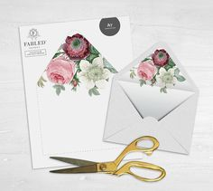 Printable Envelope Liner White with Pink by TheFabledPapery