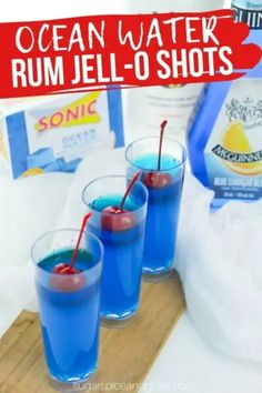 How to make the BEST coconut rum JELL-O shots - these rum cocktails taste just like Sonic Ocean Water (or a Blue Hawaiian cocktail) Malibu Jello Shots, Blue Hawaiian Jello Shots, Rum Shots, Pudding Shots, Rum Punch Recipes, Jello Shot Recipes, Alcohol Recipes, Drink Recipes, Coconut Rum Drinks