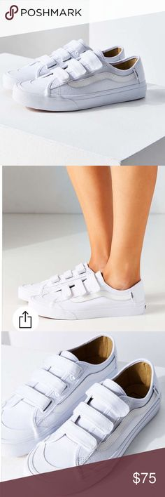 White Vans Velcro Black Ball Priz 5 Worn once! Super cute and sold out in this size! 3.5 men/ 5 women. Vans Shoes Sneakers