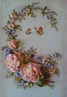 Wonderful Ribbon Embroidery Flowers by Hand Ideas. Enchanting Ribbon Embroidery Flowers by Hand Ideas. Ribbon Embroidery Tutorial, Silk Ribbon Embroidery, Embroidery Kits, Embroidery Stitches, Embroidery Designs, Embroidery Supplies, Embroidery Boutique, Embroidery Jewelry, Flower Embroidery