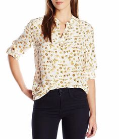 NWT EQUIPMENT Henri Gems & Insect Printed Silk Shirt Blouses, Large, MSRP $268 #EQUIPMENT #Blouse #Careercausal