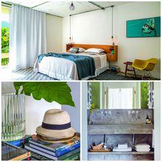 Acima, o quarto do casal é um oásis com vista para a piscina. Colcha, manta e cortinas de linho da Lutèce. Na parede, quadro de Nicole Tijoux. Embaixo e à esquerda, os livros estão por toda parte. À direita, a bancada, simples, é de concreto.