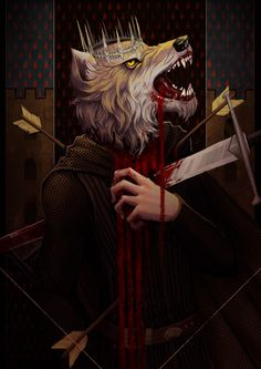 Fans seem especially fond of recreating Robb Stark's death at the Red Wedding. Polish artist Ajgiel made this grisly depiction showing a direwolf's head on Robb's arrow-ridden body.