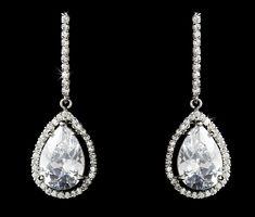 Cubic Zirconia Drop Bridal Earrings - On Sale!
