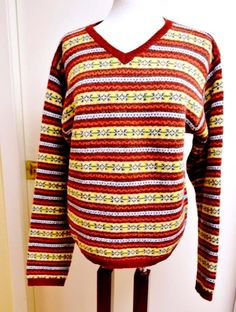The Buckle L Fair Isle Stripe Wool Sweater Rust/Yellow/Multi V Neck Long Sleeves #BkleTheBuckle #VNeck #Casual