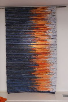 TEXTILE │ Stunning woven textile with blue and orange. Great use of the rule of thirds. Tablet Weaving, Weaving Art, Loom Weaving, Tapestry Weaving, Hand Weaving, Peg Loom, Weaving Textiles, Weaving Projects, Weaving Techniques