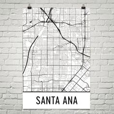 Santa Ana Map Art Print, Santa Ana CA Art Poster, Santa Ana Print, Santa Ana Wall Art, Santa Ana Poster, Gift, Birthday, Modern, Art