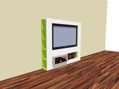 Sleek elegant TV stand. Self build with Neo Eko construction drawing. Strak elegant tv-meubel. Zelf bouwen met Neo Eko bouwtekening.