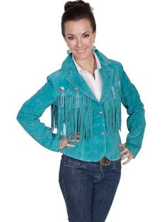 A Scully Ladies' Leather Suede Jacket: Western Fringe Blazer with Concho Trim Turquoise S-L SALE