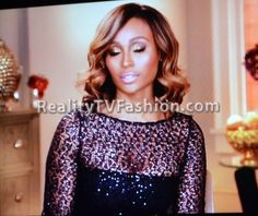 "Cynthia Bailey's Kay Unger Blue Sequin Lace Sheath Dress on ""Real Housewives of Atlanta"""