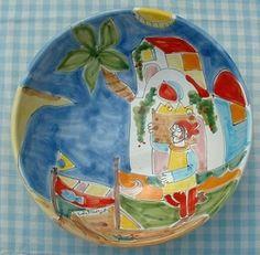 "Schaal ""Ciotola""25 cm  ""Pescivendolo""  Webshop Sicilian Ceramica  www.russoenzo.nl"