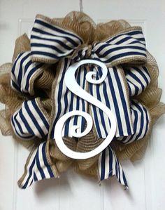 Nautical Navy Stripe Monogram Wreath Wooden by Azeleapetals