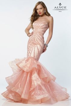 Prom Dresses Evening Dresses by ALYCE Aline chiffon dress with a sleeveless embellished bust and semi sweetheart neckline Mermaid Prom Dresses, Pageant Dresses, Homecoming Dresses, Mermaid Gown, Strapless Organza, Organza Dress, Silk Organza, Prom Dress Shopping, Designer Dresses