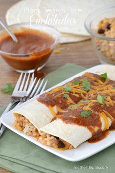 Black Bean and Rice Enchiladas and Homemade Enchilada Sauce