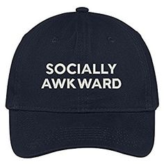 74101cd1 Socially Awkward Embroidered Brushed Cotton Adjustable Cap Dad Hat - Navy  at Amazon Women's Clothing store: