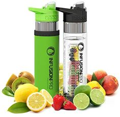 Infusion Pro Premium 2 Pack Fruit Infused Water Bottle  Bottom Infuser with Flip Top Lid Large 24 Oz BPA Free Tritan Plastic  Green and Black Sports Combofruit Flavored Water Ebook Recipes ** Find out more about the great product at the image link.