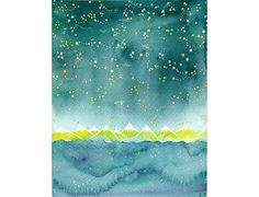 Original watercolor Teal Starry night illustration by bluepalette, $25.00