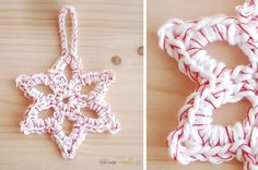 Lovely crocheted snowflake ornament..