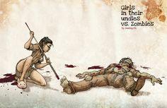 Girls in their Undies vs. Zombies - massgrfx via deviant art