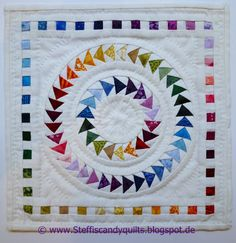 "...just Quilts: Rainbow Circle of Geese Mini Quilt - #2 for Blogger's Quilt Festival   7""x7"""