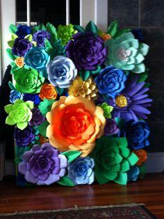 Paper flower back drop. DIY paper flowers. Cinco de mayo. paper daisy, paper succulent, paper rose.