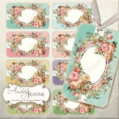 Do you have a Crafting Business?  Use these for hanging product tags, labels for soap or candles or jewelry cards.  Also great for gift tags and enclosure cards.  DIY Printable Jpegs.  Vintage Roses digital collage sheet  by AudreyJeanneRoberts, $4.95