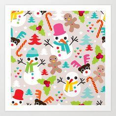Christmas retro kids illustration pattern Art Print by Little Smilemakers Studio.