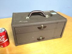 Vintage Metal Kennedy Tackle Box Packed with Vintage Lures and Fishing Equipment