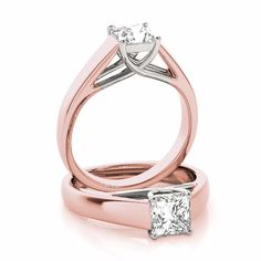 A classic solitaire engagement ring setting for the x square cut diamond of your choice in a rose gold band and white gold prongs. Can be set with a Princess, Radiant, Cushion or Asscher Cut Diamond. Diamond Promise Rings, Diamond Wedding Rings, Classic Engagement Rings, Solitaire Engagement, Asscher Cut, White Gold Rings, Amethyst, Rose Gold, Gemstones