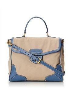 Prada Women's Top Handle Bag (Beige/Blue)