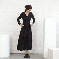 Valentines special SALE Winter fashionblack maxi dress by naftul, $102.00