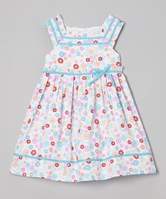 Aqua & Pink Floral Pleated Dress - Infant, Toddler & Girls